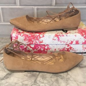 Chinese Laundry Endless Summer lace up flats camel